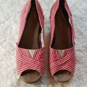 TOMS Red & White Striped Wedges